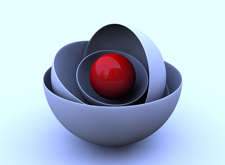 Layared cup with red ball in center